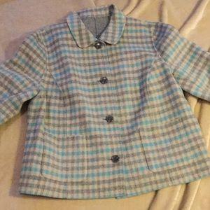 Ellen Tracy plaid  wool single blazer 14